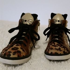 Justice Girls High Top Leopard Glitter Sneakers